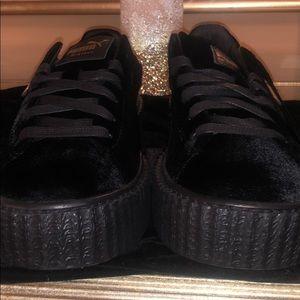 Fenty by Rihanna black velvet creepers